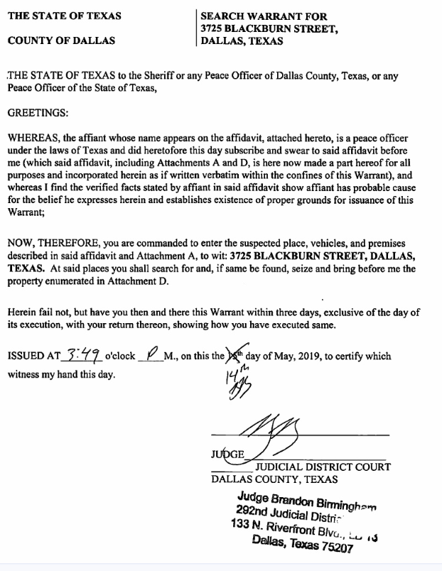 Search Warrant of Dallas Archdiocese